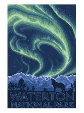 Waterton National Park, Canada - Northern Lights & Wolf by Lantern Press