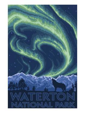Waterton National Park, Canada - Northern Lights & Wolf by Lantern Press