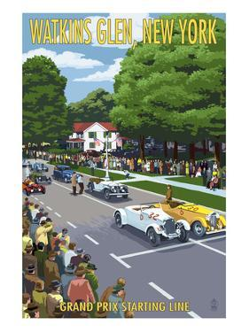 Watkins Glen State Park, New York - Grand Prix Starting Line by Lantern Press