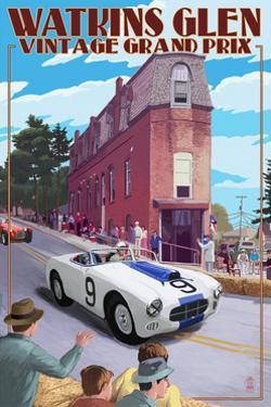 Watkins Glen State Park, New York - Vintage Grand Prix by Lantern Press