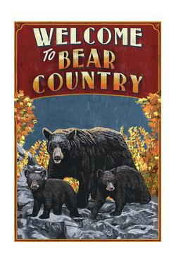 Welcome to Black Bear Country - Vintage Sign by Lantern Press