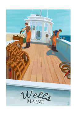 Wells, Maine - Lobster Boat by Lantern Press