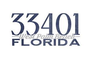 West Palm Beach, Florida - 33401 Zip Code (Blue) by Lantern Press