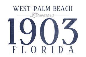 West Palm Beach, Florida - Established Date (Blue) by Lantern Press