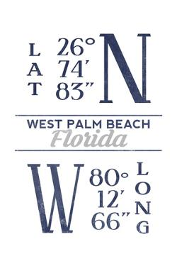 West Palm Beach, Florida - Latitude and Longitude (Blue) by Lantern Press