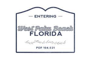 West Palm Beach, Florida - Now Entering (Blue) by Lantern Press