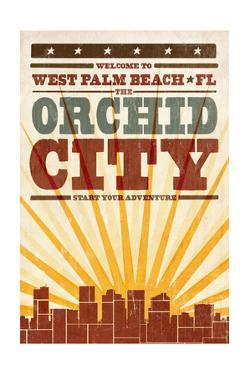 West Palm Beach, Florida - Skyline and Sunburst Screenprint Style by Lantern Press