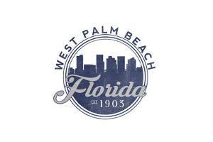 West Palm Beach, Florida - Skyline Seal (Blue) by Lantern Press