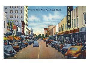 West Palm Beach, Florida - View Down Clematis Street by Lantern Press