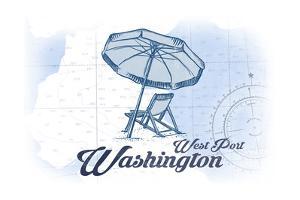 West Port, Washington - Beach Chair and Umbrella - Blue - Coastal Icon by Lantern Press
