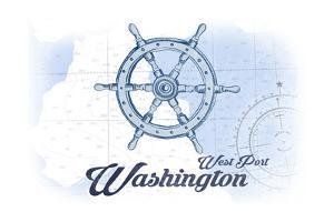 West Port, Washington - Ship Wheel - Blue - Coastal Icon by Lantern Press