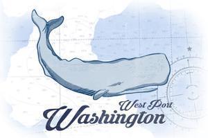 West Port, Washington - Whale - Blue - Coastal Icon by Lantern Press