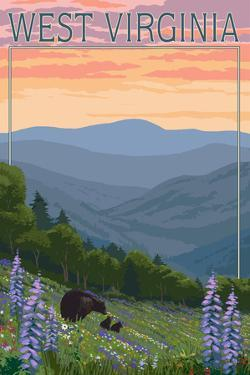 West Virginia - Bear and Spring Flowers by Lantern Press
