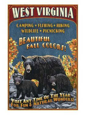 West Virginia - Black Bear Family by Lantern Press