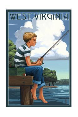 West Virginia - Boy Fishing by Lantern Press