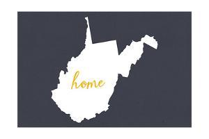 West Virginia - Home State - White on Gray by Lantern Press