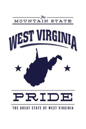 West Virginia State Pride - Blue on White by Lantern Press