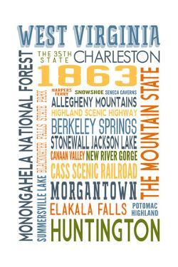 West Virginia - Typography by Lantern Press