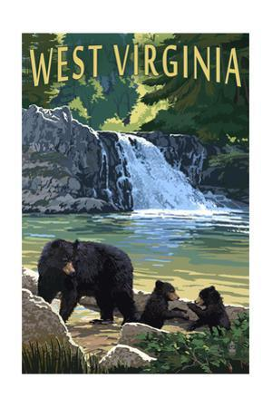 West Virginia - Waterfall and Bears by Lantern Press