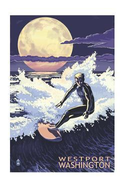Westport, Washington - Night Surfer by Lantern Press