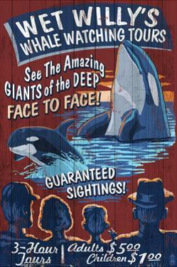 Whale Watching Tours - Vintage Sign by Lantern Press