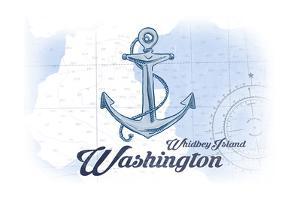 Whidbey Island, Washington - Anchor - Blue - Coastal Icon by Lantern Press