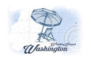 Whidbey Island, Washington - Beach Chair and Umbrella - Blue - Coastal Icon by Lantern Press