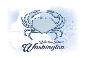 Whidbey Island, Washington - Crab - Blue - Coastal Icon by Lantern Press