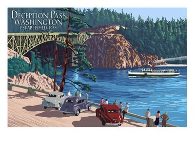 Whidbey Island, Washington - Deception Pass Bridge by Lantern Press
