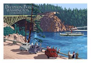Whidbey Island, Washington - Deception Pass Bridge by Lantern Press