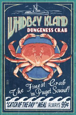 Whidbey Island, Washington - Dungeness Crab Vintage Sign by Lantern Press