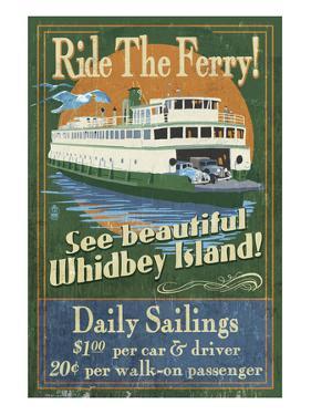 Whidbey Island, Washington - Ferry by Lantern Press