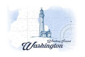 Whidbey Island, Washington - Lighthouse - Blue - Coastal Icon by Lantern Press