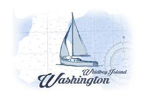 Whidbey Island, Washington - Sailboat - Blue - Coastal Icon by Lantern Press
