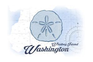 Whidbey Island, Washington - Sand Dollar - Blue - Coastal Icon by Lantern Press