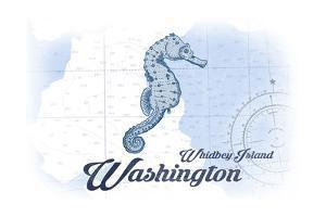 Whidbey Island, Washington - Seahorse - Blue - Coastal Icon by Lantern Press