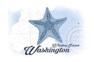 Whidbey Island, Washington - Starfish - Blue - Coastal Icon by Lantern Press