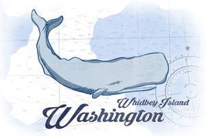 Whidbey Island, Washington - Whale - Blue - Coastal Icon by Lantern Press