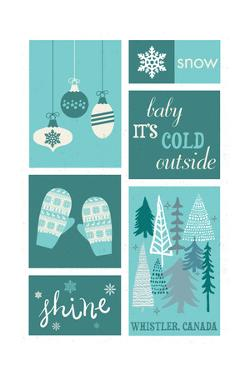 Whistler, Canada - Christmas - Blue Snow - Checkerboard by Lantern Press