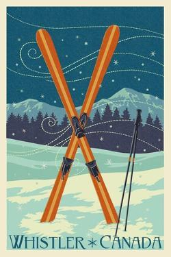 Whistler, Canada - Crossed Skis - Letterpress by Lantern Press