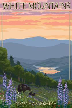 White Mountains, New Hampshire - Bears and Spring Flowers by Lantern Press