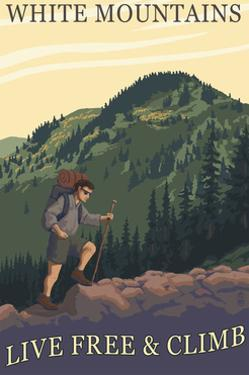 White Mountains, New Hampshire - Live Free and Climb Hiker Scene by Lantern Press