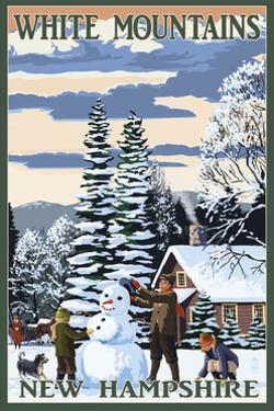 White Mountains, New Hampshire - Snowman and Cabin by Lantern Press