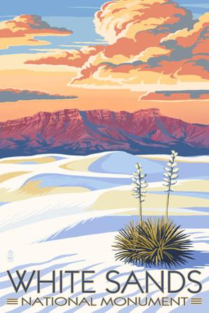 White Sands National Monument, New Mexico - Sunset Scene by Lantern Press