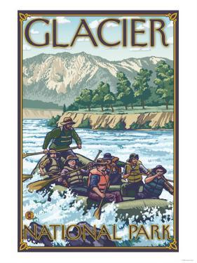 White Water Rafting, Glacier National Park, Montana by Lantern Press