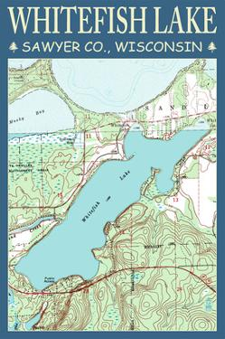 Whitefish Lake Chart - Sawyer County, Wisconsin by Lantern Press