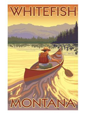 Whitefish, Montana - Canoe Scene by Lantern Press