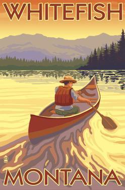 Whitefish, Montana - Canoe Scene by Lantern Press