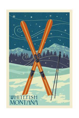 Whitefish, Montana - Crossed Skis by Lantern Press