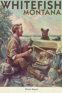 Whitefish, Montana - Man Cooking Breakfast at Camp - Poster by Lantern Press